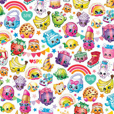 Moose Shopkins Packed Rainbow Celebration 100% Cotton Fabric by the Yard