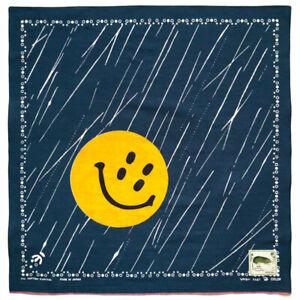 "Kapital Capital Fast Color Selvage Bandana ""Rain Smile"" Khaki / Navy from Japan"