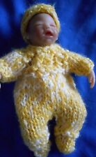 """Doll Clothes Footed Hand-knit Yellow Suit With Cap Fits Baby 4.5"""" A. Drake"""