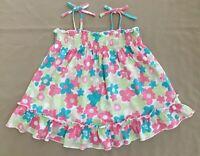 ROXY Teenie Wahine Girls Smock Top Tie Floral Pink Aqua Yellow Summer Size M/5
