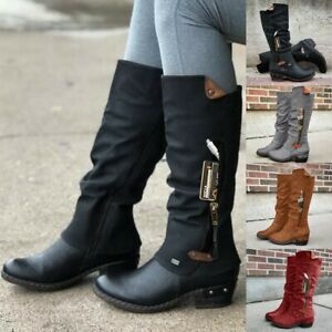 Women Zipper Square Heel Solid High Boots Knee-High Shoes Round Toe PU Boots