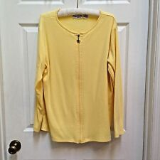 Paradise Bay Plus Yellow 2X Top Long Sleeve Zip Shirt Cruise Beach