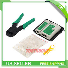 Network Ethernet Kit RJ45 Cat5e Cat6 Cable Tester Crimper Crimping Tool Set SE