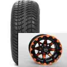 "(4) STi 12"" Orange Blue Red HD6 Aluminum Golf Cart Car Wheels & Low Profile Tire"
