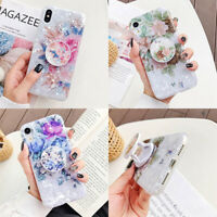For iPhone 11 Pro Max XS XR 6s 7 8 Plus Shell Flower Stand Holder TPU Case Cover