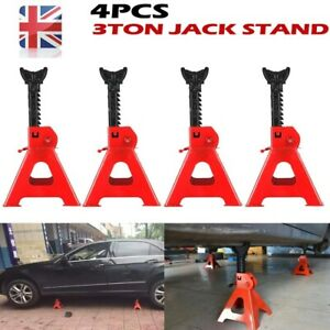 4x 3 Ton Axle Stands Lifting Capacity Stand Heavy Duty Car Caravan Floor Jack UK