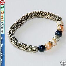 Fashion & Simple Three Coloured Pearl Bangle black pink & natural pearl Bracelet