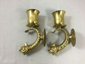 Pair Vintage French bronze Wall Light Sconces zoomorphic Dolphins or candlestick
