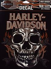 Genuine Harley Davidson Flamed Skull & Crossbones Shiny Decal Sticker DC196663