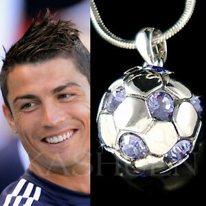 ~Purple Sphere Football Soccer Ball made with Swarovski Crystal Necklace Jewelry