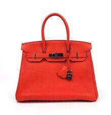 Hermes Birkin 30 Capucine Orange Red Togo Palladium Hardware