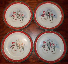 Royal Seasons Stoneware Snowmen 4 Dinner Plates Winter Holiday 4a24d