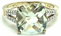 Sterling Silver 925 Two Tone Prasiolite CZ Split Pave Accent Band Cocktail Ring