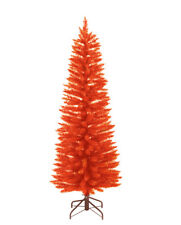 6 FT Slim Orange Tree w/ 250 mini Lights Halloween Decor Kurt Adler New