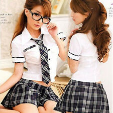 japan Girl Uniform Adult Costume Naughty School Plaid Cosplay Dress Top Hot Cool