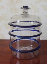 Early American Blown Glass Covered Cannister w/ Cobalt Blue Rings