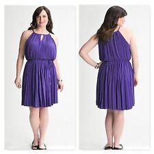 Lane Bryant Plus Size 14 16 XL 1X Purple Pleated Keyhole A-Line Sleeveless Dress