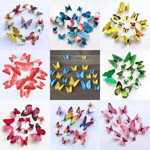 12Pcs 3D Butterfly Wall Decal Removable Sticker Kids Art Nursery Xmas Decoration