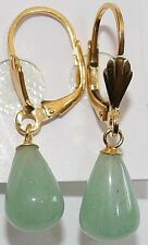 VINTAGE STERLING SILVER GOLD PLATED REAL GENUINE GREEN JADE PEAR DANGLE EARRINGS