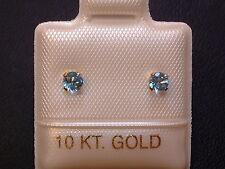 Feinste Blautopas Ohrstecker Ohrringe - 3 mm - 14 Kt. Gold - 585 - Brillant Cut