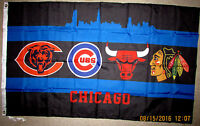 CHICAGO BLACKHAWKS BULLS BEARS CUBS 3x5 FEET FLAG BANNER CHI TOWN Illinois NEW!