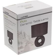 Lloytron 25cm 35w Ceramic Base Black Fabric Shade Bedside Desk Table Lamp Light