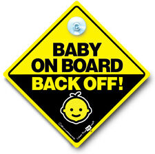 Baby On Board Back Off Car Sign, Baby On Board Sign, Suction Cup Sign