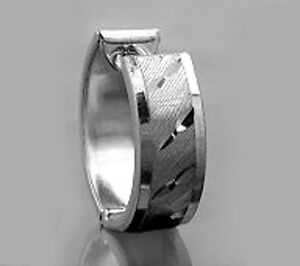 925 ECHT SILBER RHODINIERT *** Herren Single-Creole Ohrring 14 mm, diamantiert