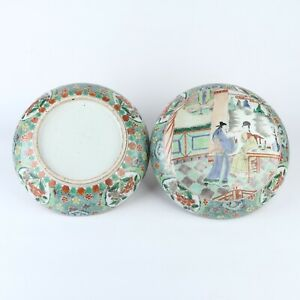 Antique Chinese Famille Verte Porcelain Box