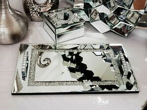 Crushed Diamond Crystal serving Tray with crystal handle home decor 40X25 Cm