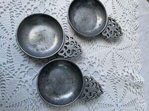 "Three Vintage Stede Pewter Child's Mini Porringer Bowls 2 1/2"""