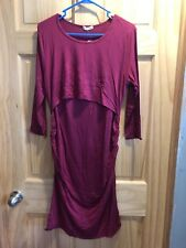 LA Made Women's Maternity Cap Sleeve Dress with Nursing Flap - Red (OXBLD) Large