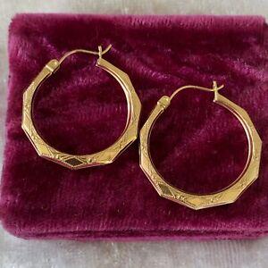 """14K Yellow Gold Textured 1"""" Pierced Hoop Earrings  1.7 Grams"""