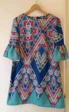 NEW Geo Floral shift dress with ruffle sleeve, size 12-14