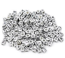 50 x 6mm Silver Coloured Acrylic Cube Alphabet Letter Beads Random Mix  V111