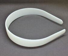 "12 White Plastic Headbands 25mm 1"" Craft Bulk Head Hair Band Shatterproof Blanks"