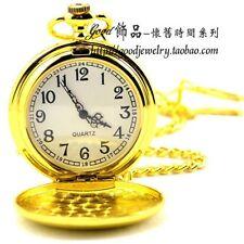 Polished Gold Style Pocket Watch Retro Quartz Mechanical Necklace Gift Box