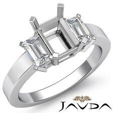 Elegant 3 Stone Anniversary Ring Emerald Diamond Semi Mount 18k White Gold 0.4Ct