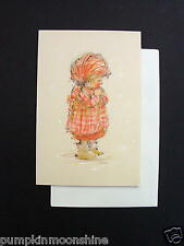 #F480- Vintage Unused Mary Hamilton Xmas Greeting Card Sweet Girl Praying