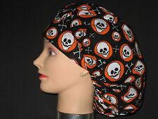 Surgical Scrub Hats/Caps~Halloween-Black with Skulls in Orange circles~