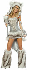 Sexy Silver Gray Fox Wolf Rave Fur Animal Women Cosplay Costume for Halloween