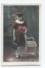 BP208 Carte Photo vintage card RPPC Enfants Children Mode Fashion Tinted colorié