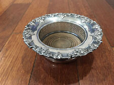 Vtg Antique Silver Plated Wine Coaster w/ Grape & Vine Decoration w/ Hallmark