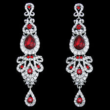 18K WHITE GOLD/P RUBY RED AUSTRIAN CRYSTAL LONG DANGLE STATEMENT EARRINGS