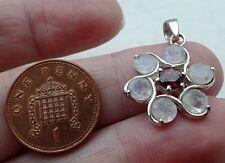 Suberb Sterling Silver & Blue Moonstone and Garnet Flower Pendant