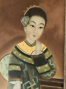 Antique Reverse Glass Chinese Painting In it's Original Frame