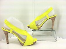 Romantic Soles Mabry Neon Yellow Heels. Cork Look Heel. Size 8 M