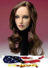 1/6 Female Head Sculpt American European brown hair for Kumik Phicen Hot Toys US
