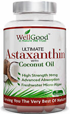 Natural Vegan Astaxanthin 30mg (micro algae) with Coconut Oil 90 x by WellGood