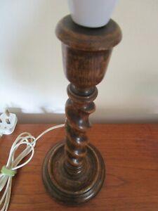Vintage 1930's / 40's Barley Twist Turned Oak Table / Side Lamp